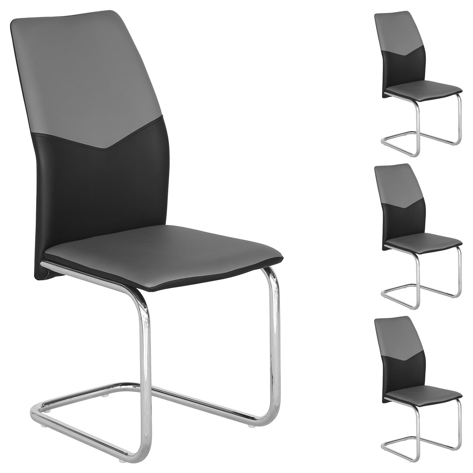 lot de 4 chaises de salle manger pi tement chrom rev tement synth tique ebay. Black Bedroom Furniture Sets. Home Design Ideas