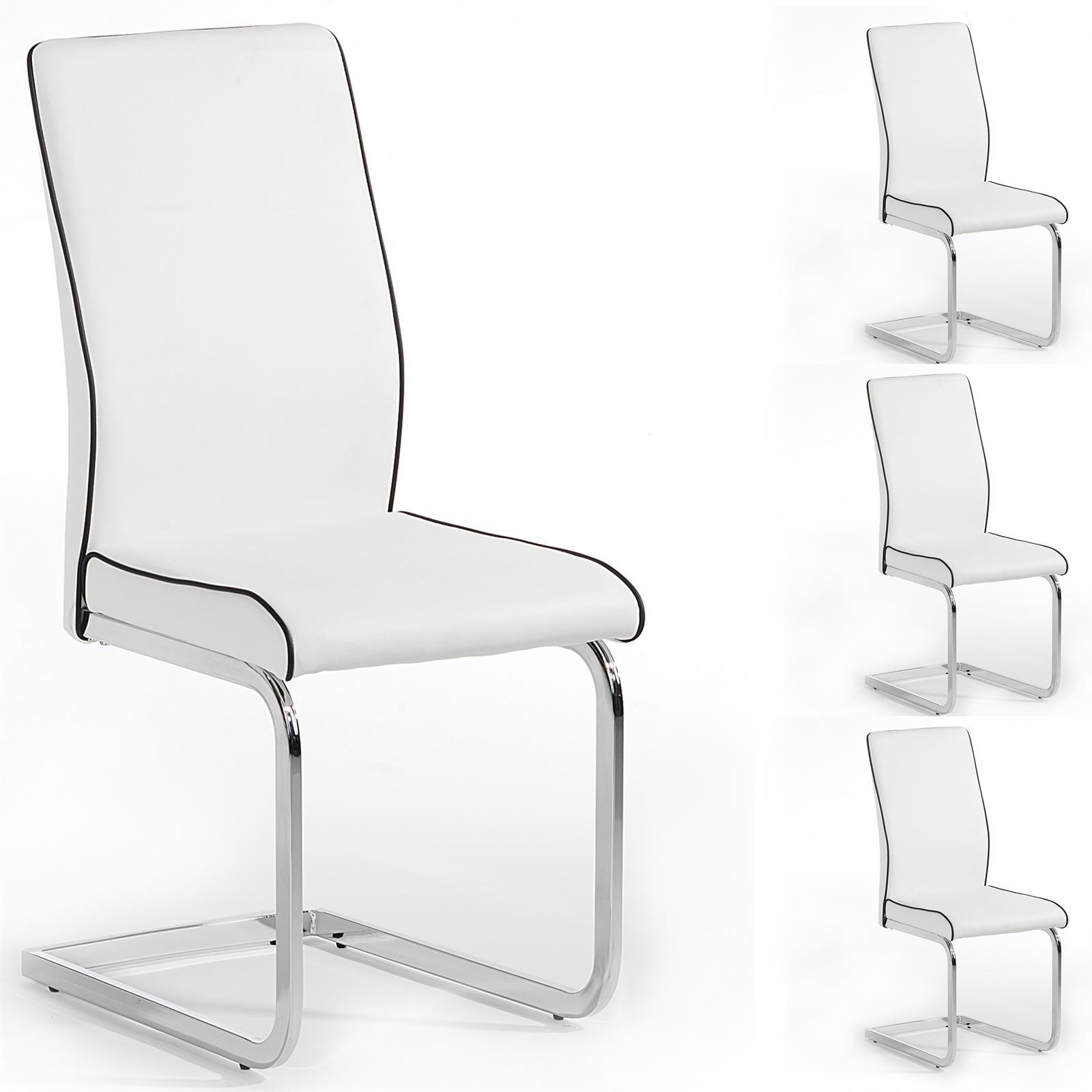 Lot de 4 chaises de salle manger pi tement chrom simili cuir 3 coloris dis - Chaise en cuir a vendre ...