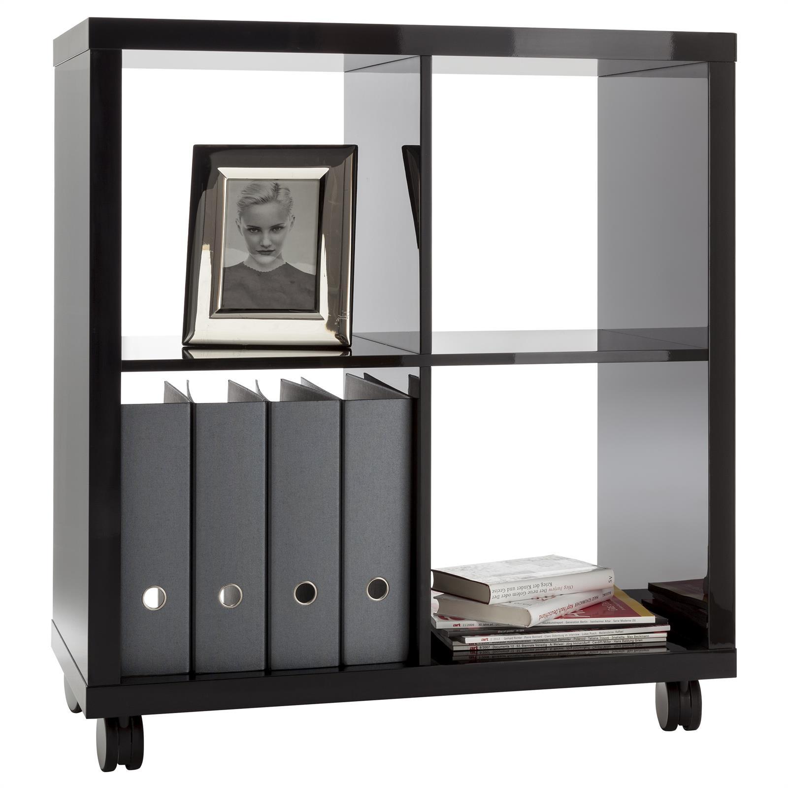 Etag re biblioth que sur roulette 4 casiers panneaux de bois laqu 2 coloris - Etagere a roulettes pour bibliotheque ...