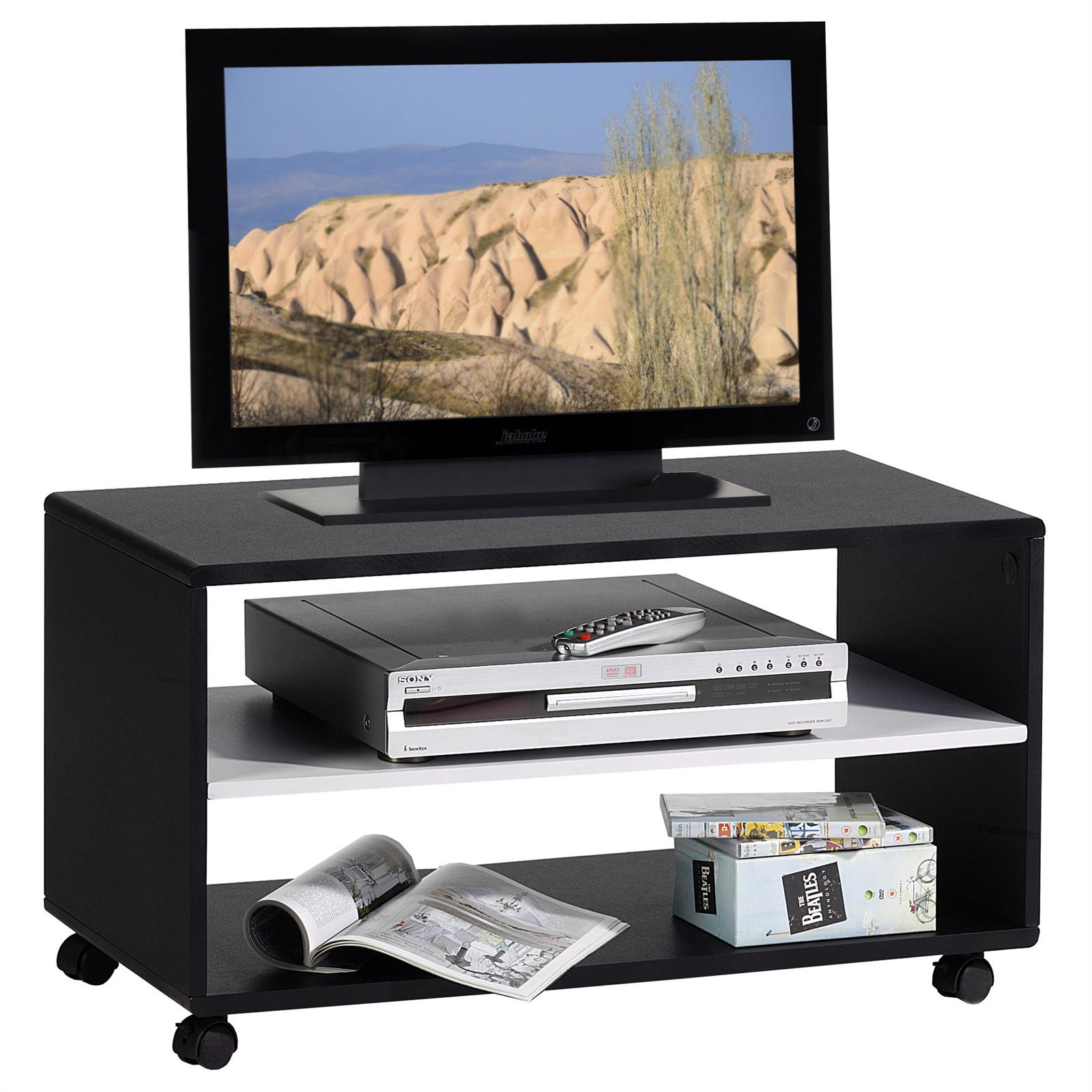 meuble tv tag re sur roulettes mdf laqu blanc noir ebay. Black Bedroom Furniture Sets. Home Design Ideas