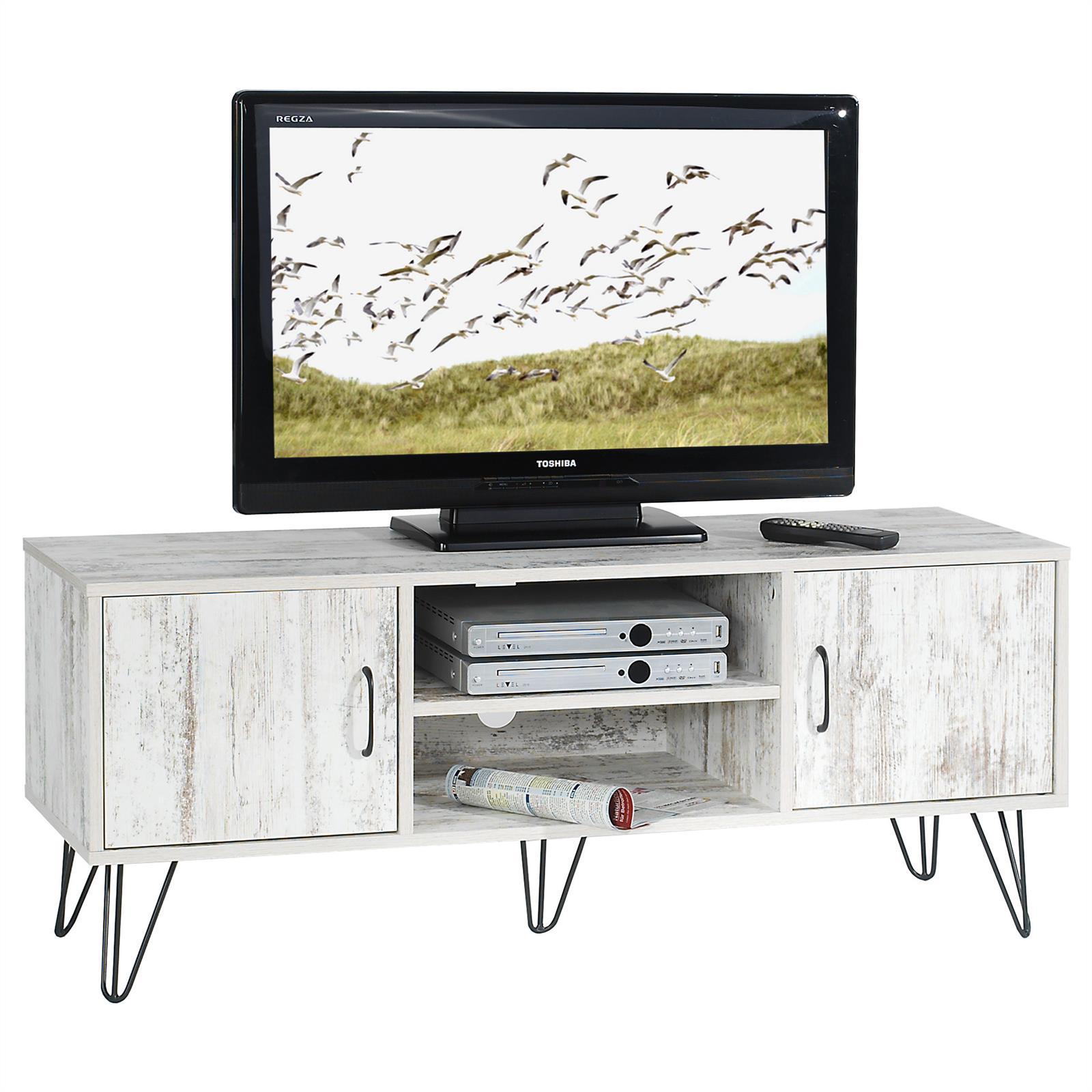 Meuble-banc-TV-design-MDF-pieds-metalliques-noir
