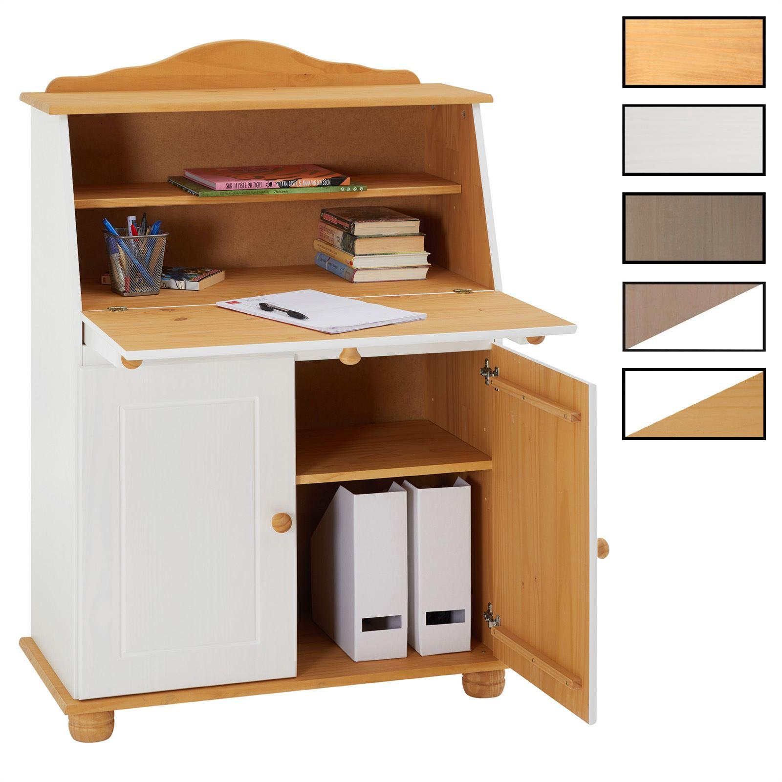Bureau-secretaire-tablette-rangement-pin-massif-2-coloris-disponibles