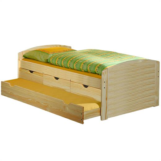 Lit gigogne rangements tiroir lit 90 x 200 cm pin massif for Canape avec lit tiroir