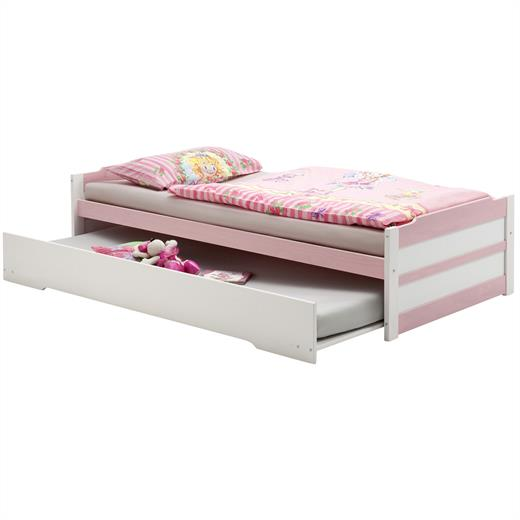 lit gigogne lit fonctionnel tiroir lit 90 x 200 cm pin massif lasur blanc rose ebay. Black Bedroom Furniture Sets. Home Design Ideas