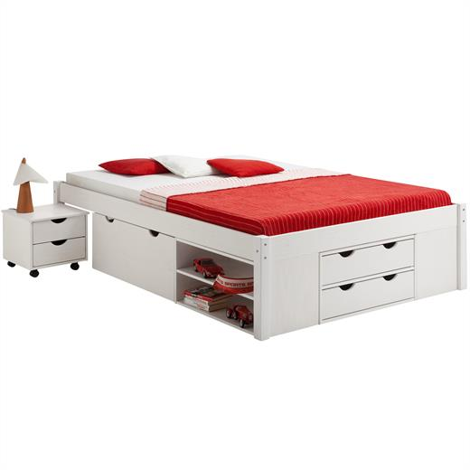 lit double fonctionnel avec rangements 140 x 200 cm pin massif lasur blanc ebay. Black Bedroom Furniture Sets. Home Design Ideas