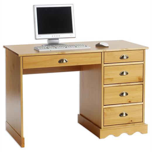 Bureau multi rangements tiroirs pin massif lasur couleur miel for Bureau en bois massif