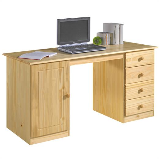 bureau multi rangements tiroirs placard pin massif vernis naturel ebay. Black Bedroom Furniture Sets. Home Design Ideas