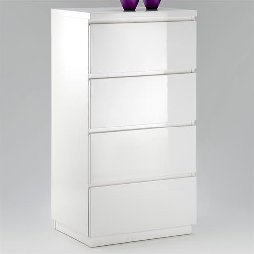 commode laqu brillant blanc opus 4 tiroirs neuf ebay. Black Bedroom Furniture Sets. Home Design Ideas