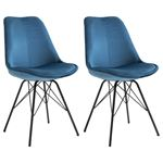 Lot de 2 chaises EVEREST, en velours bleu