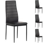 Lot de 4 chaises NATHALIE, en synthétique noir/noir