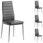 Lot de 4 chaises NATHALIE, en synthétique gris