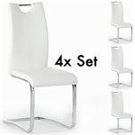 Lot de 4 chaises SABA, en synthétique blanc
