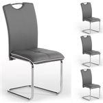 Lot de 4 chaises ELEONORA, en synthétique gris
