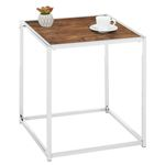 Table d'appoint carré JOLANDA, en métal chromé et décor chêne sauvage