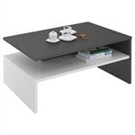 Table basse ADELAIDE, en mélaminé gris et blanc mat
