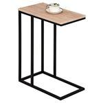 Table d'appoint rectangulaire DEBORA, en métal noir et décor chêne sauvage