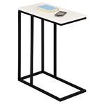 Table d'appoint rectangulaire DEBORA, en métal noir et décor blanc mat