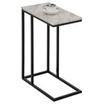Table d'appoint rectangulaire DEBORA, en métal noir et décor marbre blanc