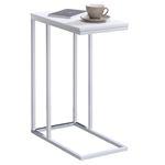 Table d'appoint rectangulaire DEBORA, en métal blanc et décor blanc mat