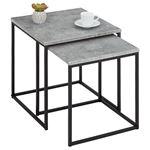 Lot de 2 tables d'appoint gigognes ISTANBUL, en métal noir et décor béton foncé