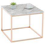 Table d'appoint carré ROMI, en métal rose gold et décor marbre blanc