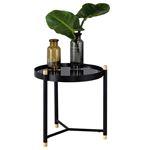 Table d'appoint ALICIA, plateau rond en verre trempé noir et piètement en métal noir et pin