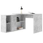 Bureau d'angle CARMEN avec meuble de rangement, décor béton