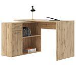 Bureau d'angle ISOTTA avec meuble de rangement, décor chêne sauvage