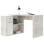 Bureau d'angle ISOTTA avec meuble de rangement, décor béton et blanc mat