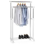 Portant à vêtements GROSSO, en métal chromé et blanc