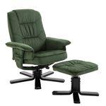 Fauteuil de relaxation avec repose-pieds CHARLES, en velours vert