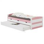 Lit gigogne avec rangements JESSY, 90 x 200 cm, en pin massif, lasuré blanc et rose