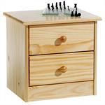 Table de chevet en pin RONDO 2 tiroirs, vernis naturel