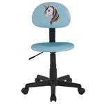 Chaise de bureau pour enfant UNICORN, revêtement synthétique bleu clair avec motif licorne