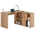 Bureau d'angle CARMEN avec meuble de rangement, décor chêne sonoma