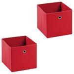 Lot de 2 boîtes de rangement ELA, en tissu rouge