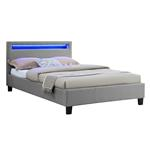 Lit simple MARISELA, 120 x 190 cm, avec LED intégrées et sommier, revêtement en tissu gris