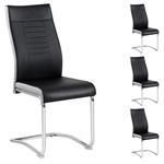 Lot de 4 chaises LOANO, en synthétique noir et gris