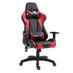 Chaise de bureau GAMING, revêtement synthétique noir et rouge