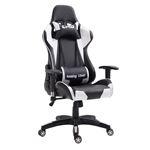 Chaise de bureau GAMING, revêtement synthétique noir et blanc