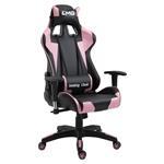 Chaise de bureau GAMING, revêtement synthétique noir et rose
