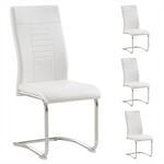 Lot de 4 chaises LOANO, en synthétique blanc