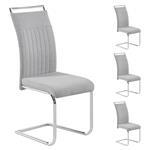 Lot de 4 chaises ERICA, en tissu gris clair