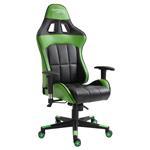 Chaise de bureau gaming CREW, revêtement synthétique noir et vert