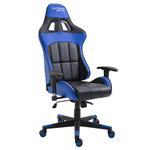 Chaise de bureau gaming CREW, revêtement synthétique noir et bleu
