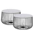 Lot de 2 tables d'appoint PADOVA, en métal noir et décor marbre blanc