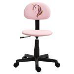 Chaise de bureau pour enfant UNICORN, revêtement synthétique rose avec motif licorne
