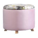 Tabouret de rangement BONITO avec motifs fleurs, en velours rose