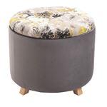 Tabouret de rangement BONITO avec motifs fleurs, en velours gris