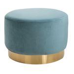 Tabouret pouf SESTO, en velours turquoise